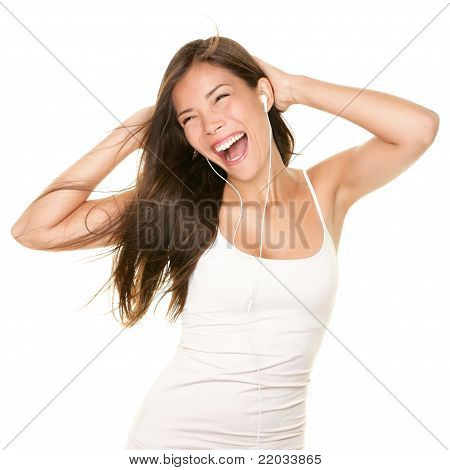 Woman Dancing With Earbuds / Earphones