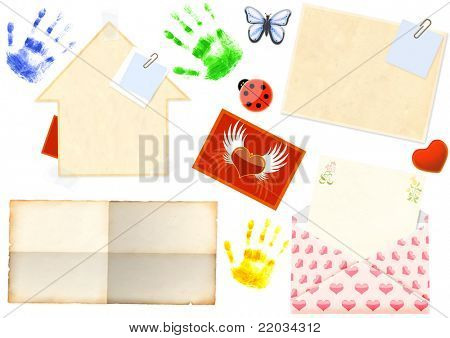Collection of elements for scrapbooking. Objects isolated over white