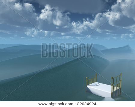 Bed afloat on sea