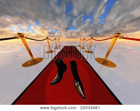 black stilettos on red carpet