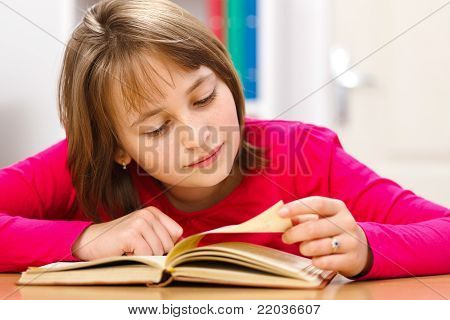 Schoolgirl Reading In Classroom