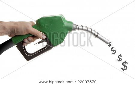 Male hand holding green gas pump with dollar signs spilling isolated on white