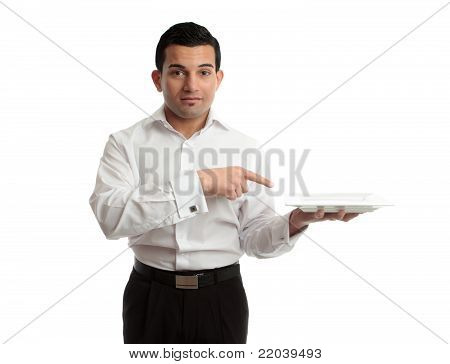 Waiter Pointing To Plate