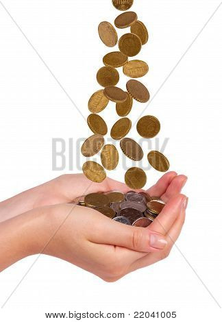 Female Hands And Falling Coins  Isolated On White Background