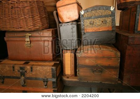 Vintage Trunks Left On Ellis Island Ny