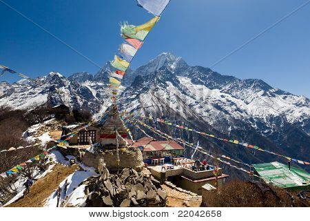 Prayer Flags And Mountain View