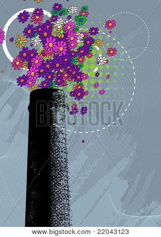 Chimney with colorful flower smoke - Environment concept- Grunge style vector illustration