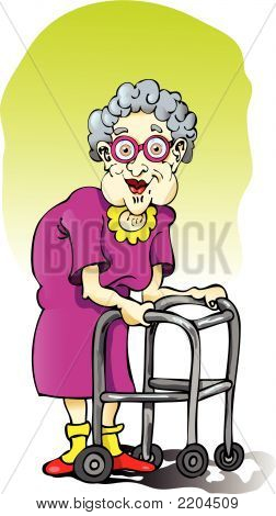 Elderly Woman With Walker.Eps