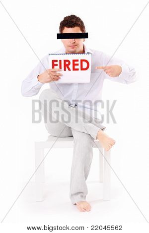 A picture of a young fired man sitting over white background