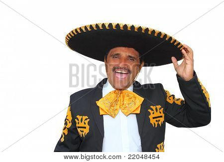 Charro mariachi man portrait shouting isolated on white