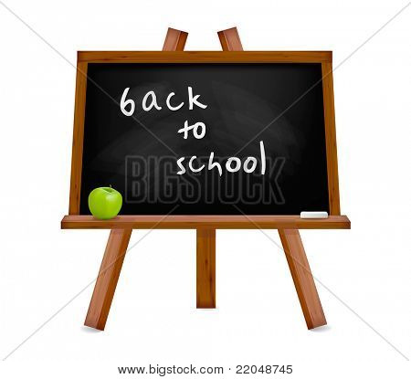 Back to school. Blackboard with easel with text. Vector illustration.