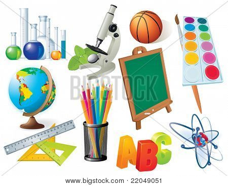 Set school and university tools and design elements.