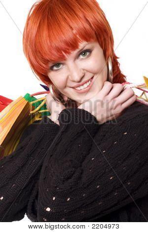 Smiling Girl Shopping