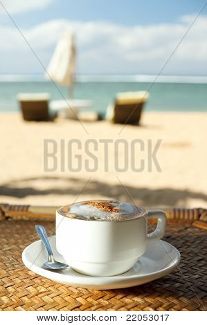 Hot Cappuccino Coffee At Tropical Beach