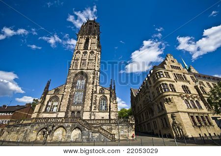 Salvatorkirche And Townhall In Duisburg