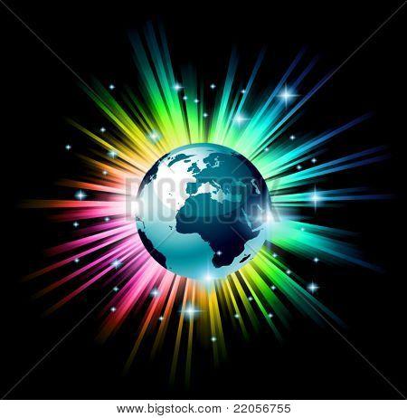 Exata ilustração 3D do globo da terra com uma explosão de luz do arco-íris atrás do planeta, no profundo s