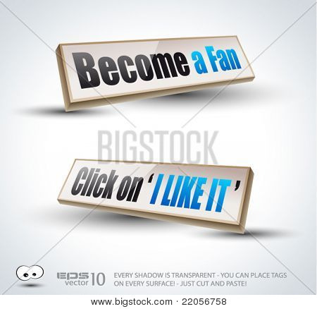 'Become a Fan' social themed  3D Panels with Transparent Shadows and glossy reflection. Ready to copy and past on every surface.