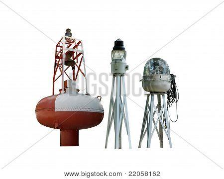 three vintage buoys