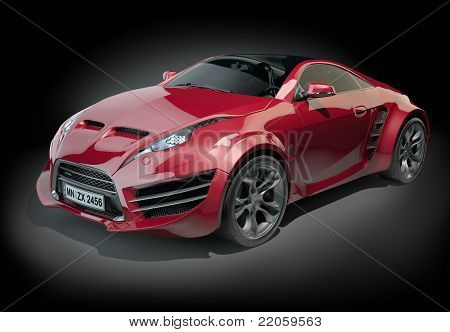 Red sports car isolated on black. Non branded concept car.