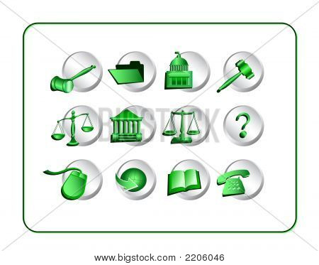 Legal Icon Set - Green-Silver