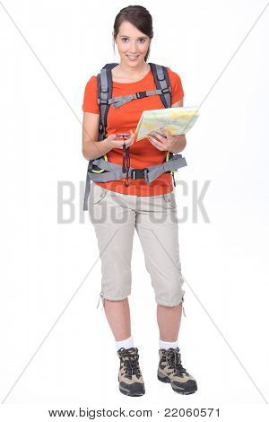 young woman orienteering