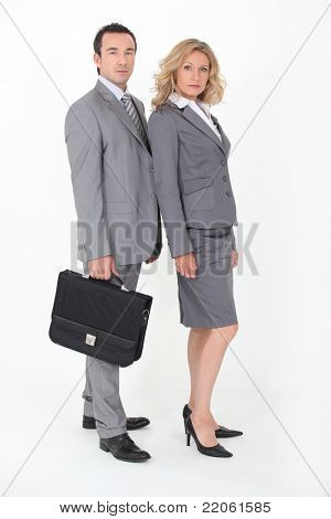 Businesspeople on white background