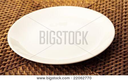 plate on wicker