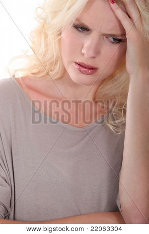 blond woman upset