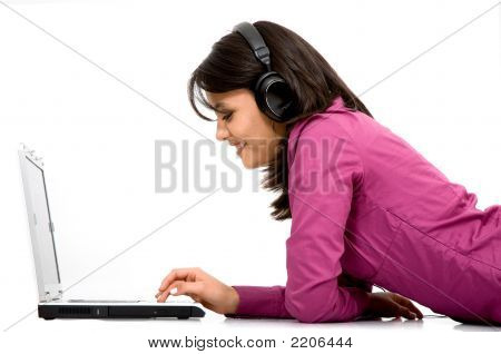 Girl Listening To Online Music