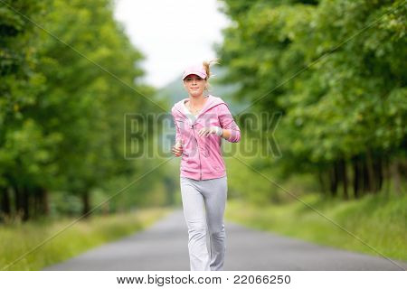 Jogging Sportive Young Woman Running Park Road