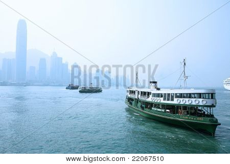"HONG KONG - DECEMBER 14: Ferry ""Solar star"" leaving Kowloon pier on December 14, 2008 in Hong Kong, China. Ferry is in operation for over 120 years and is one main tourist attractions of the city."