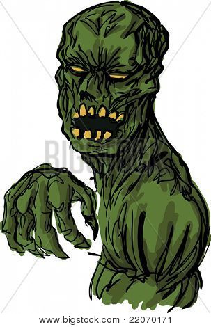 Scary undead animated zombie corpse monster, hand-drawn vector  illustration