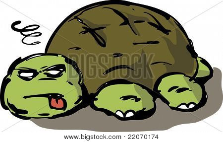 Tired, lazy, exhausted, old, unconscious turtle collapsed on ground, vector illustration