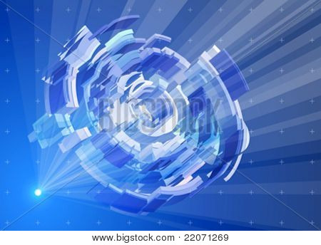 Rays of light in the blue space, creating a radial hologram - abstract itechnology llustration. Eps10
