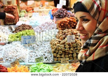 Woman at spice market