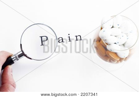 Magnifying Glass,  Pills  And Word Pain