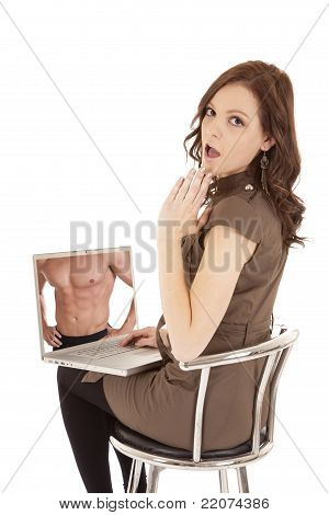 Woman Shocked At Computer Screen