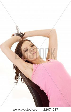 Woman Pink Weight Over Head