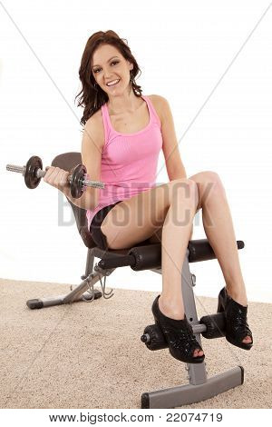 Woman Pink Bench Curl