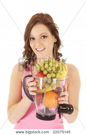 Woman Fruit Blender Smile
