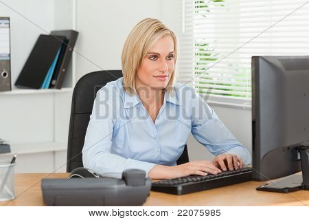 Working Woman In Front Of A Screen