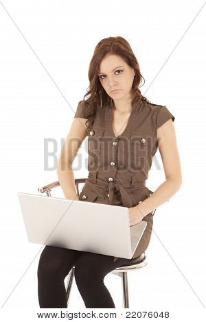Woman Brown Shirt Laptop Sad