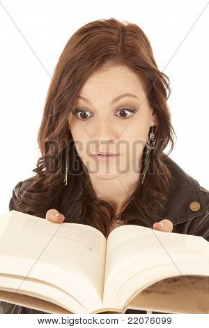Woman Book Close To Face Surprised