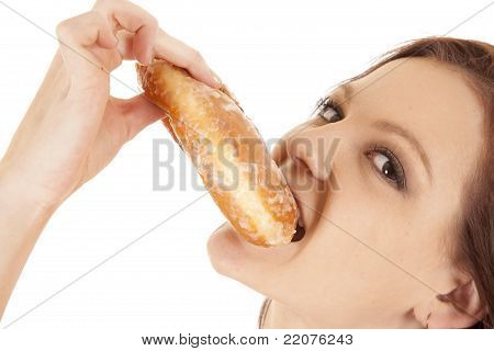 Woman Biting Doughnut Happy