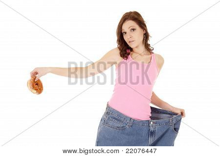 Woman Big Pants Doughnut Hold Away