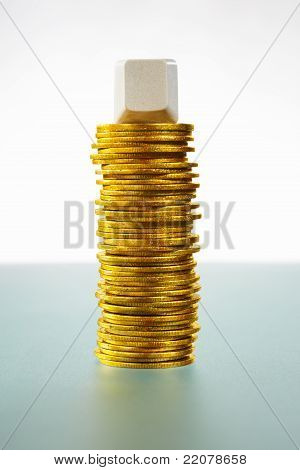 Single Blank Block Over Gold Coins