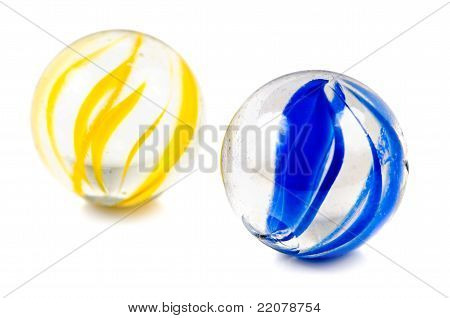 A Pair Of Glass Cateye Marbles