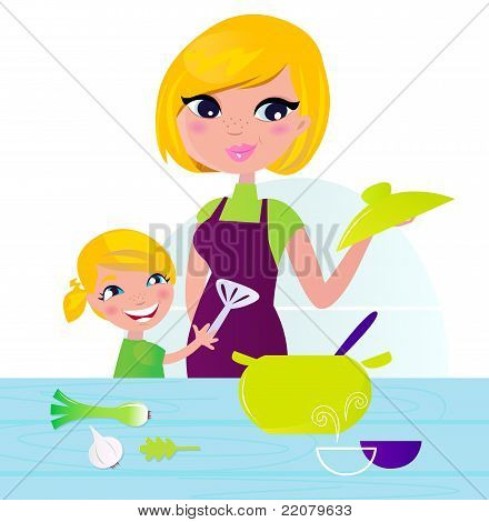 Mother With Child Cooking