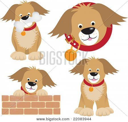 cartoon character of a dog with a bone and standing on a wall and inside a round shape collar, uses gradient mesh