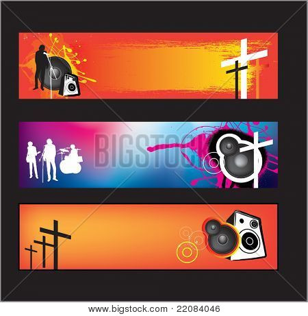 set of banners for christian religious music rock or pop bands for young kids and teenagers using gradient mesh.